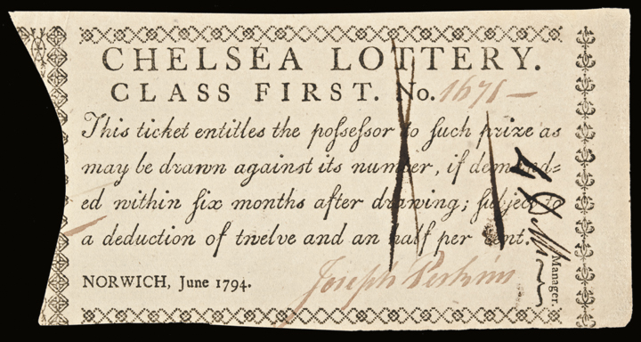 1794 Connecticut Chelsea Lottery - Class First Ticket. Choice Crisp About Unc