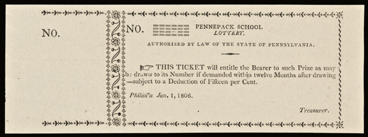 1806 Pennsylvania. Pennepack School Lottery Ticket Superb Crisp Uncirculated