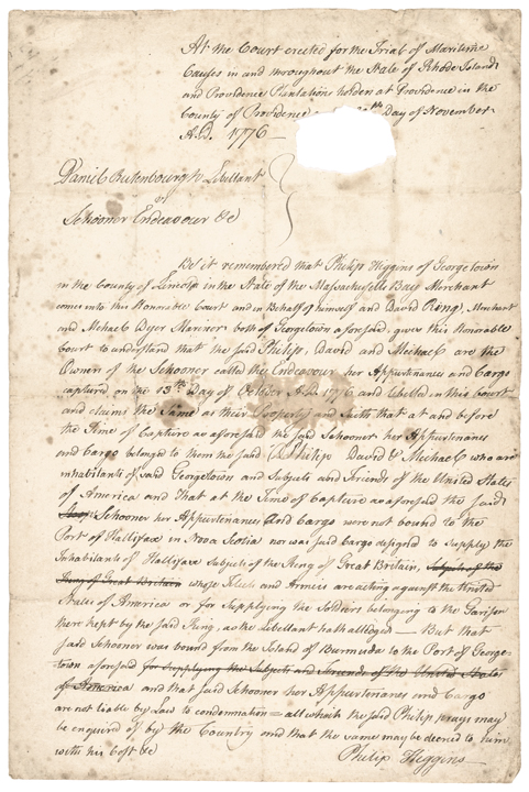 November, 1776-Dated Manuscript Document Signed,