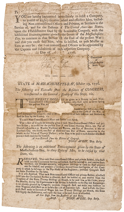 November 14, 1776 Revolutionary War Mass. Commission to: To Inlist a Company...!