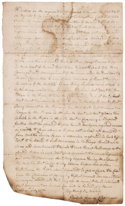 1777, Revolutionary War, Manuscript Document