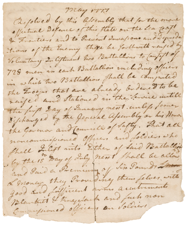 1777 Document Establishing Connecticut Militia