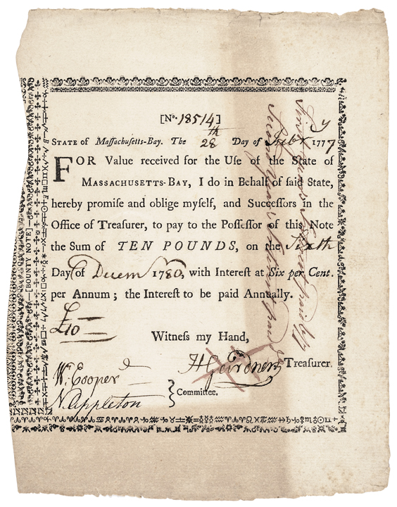 1777-Dated Revolutionary War Document BOUNTY NOTE Massachusetts Fiscal Paper, VF