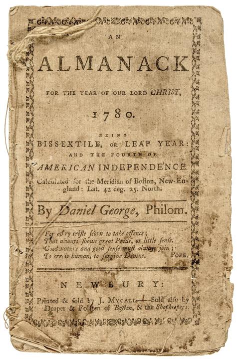 1780 Revolutionary War Daniel George Almanack from Newbury, Massachusetts