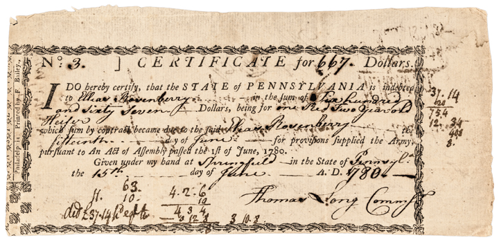 1780 Pennsylvania Revolutionary War Army Debt Certificate Not Listed In Anderson