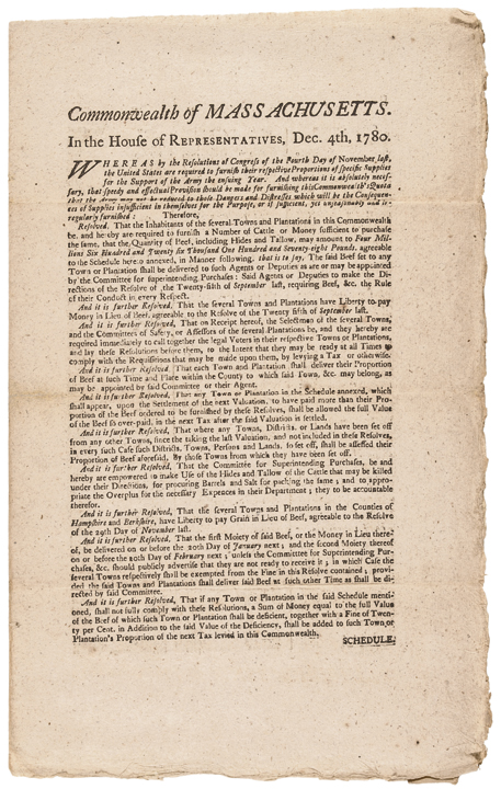 1780 John Hancock Revolutionary War Broadsheet Supplies for the Continental Army