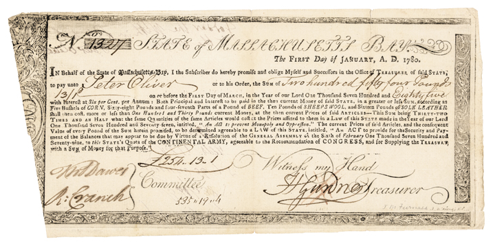 1780 Revolutionary War Treasury Certificate, Massachussetts Bay MA-20