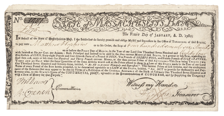 1780 Revolutionary War Massachusetts-Bay Treasury Certificate. Anderson MA-21<br><br>