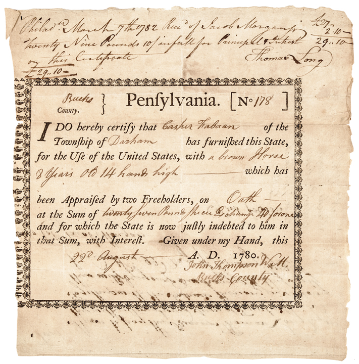 1780 Revolutionary War Receipt for a United States Continental Army Horse!