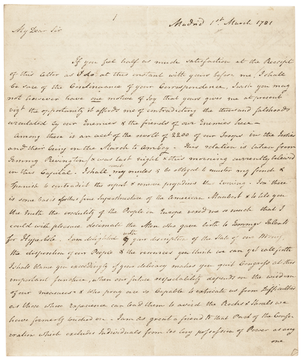 1781 Continental Congressman and Secrect Agent William Carmichael ALS to Elbridge Gerry