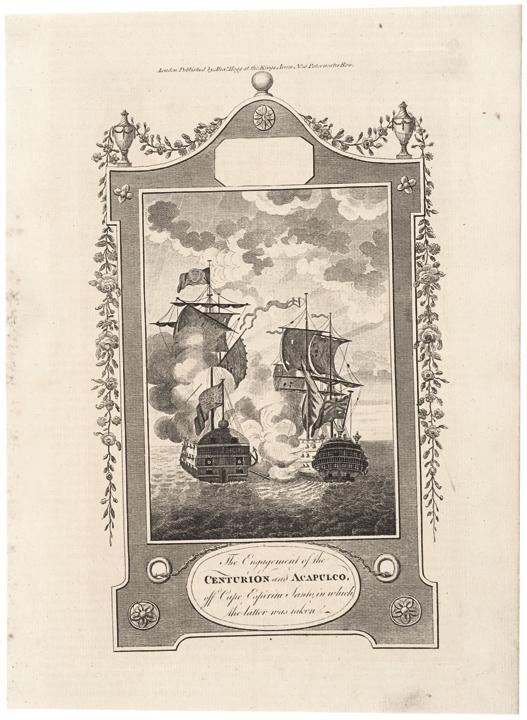Naval Print, 1781: Centurion and Acapulco