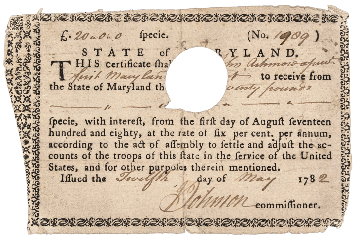 1782 Rare Maryland 6 Percent Revolutionary War Soldiers' Bond Anderson MD-2. R-5