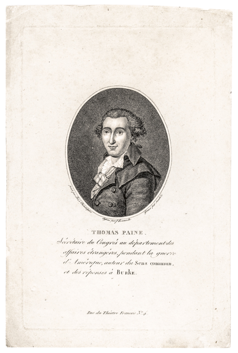 (1792) Thomas Paine Engraved Portrait COMMON SENSE Author Activist-Revolutionary