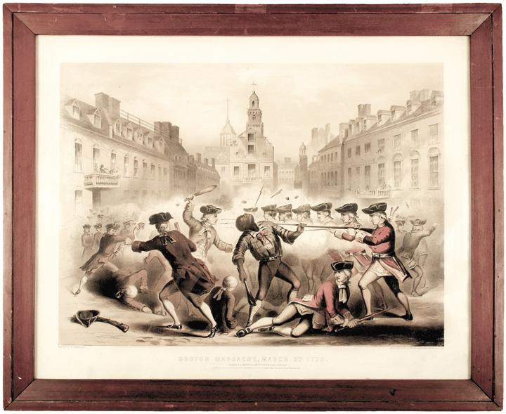 Rare 1856 Print of The 1770 The Boston Massacre by W. Champney