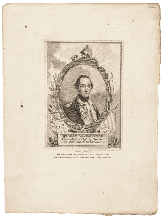 c. 1780 George Washington Revolutionary War Engraving by Prunau, Paris, France
