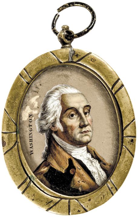 c. 1780 - Federal Period, George Washington Miniature Portrait in Original Frame
