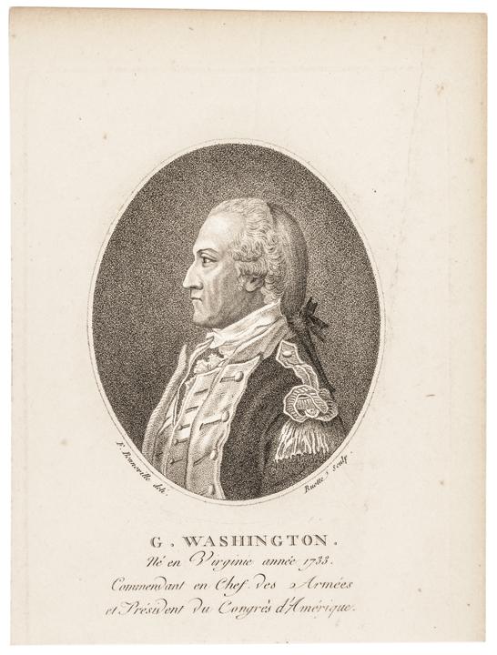 Rare c 1796 General George Washington Stipple Engraving by Bonneville, Paris