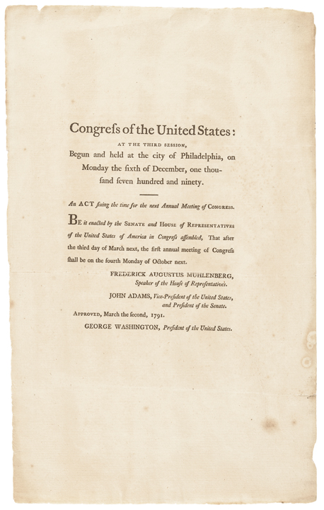 1791 Important Pair of Historical Documents regarding Opening the U.S. Congress