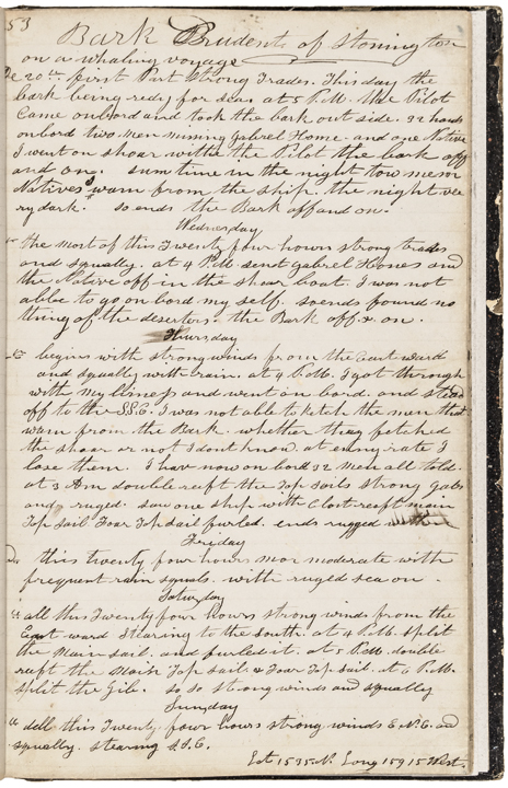 1853-55 Pacific Manuscript Whaling Journal Log for Ship Prudent of Stonington CT