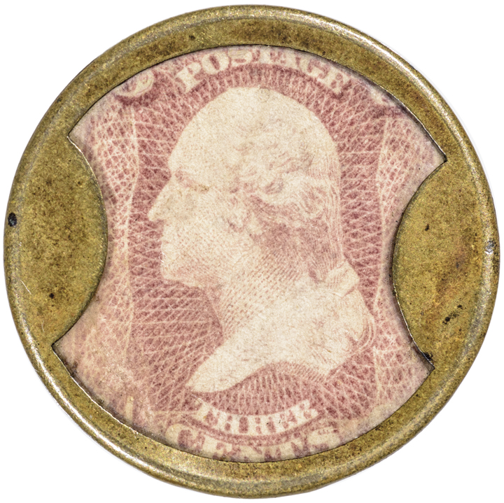 Encased Postage Stamp. 3 Cent AYER'S SARSAPARILLA, Civil War Small AYER'S Type