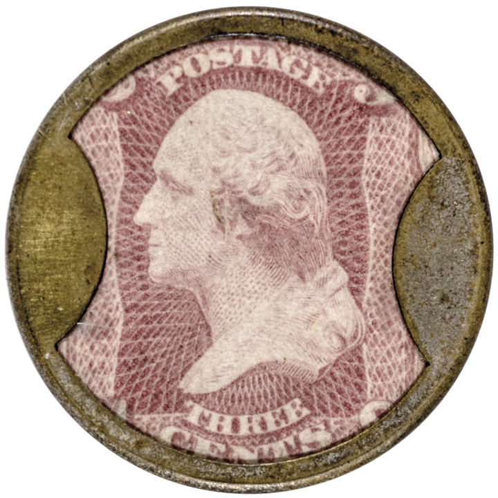 Encased Postage Stamp. Three Cents. AYER'S SARSAPARILLA. Medium. Full Silvering!