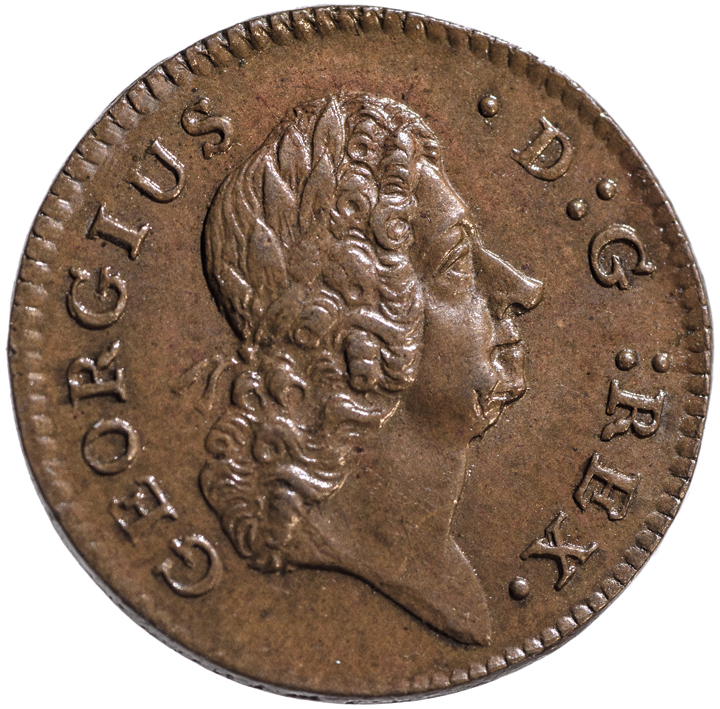 1723 Wood's Hibernia Farthing. D:G: REX. Type. 11 Harp Strings. GEM Uncirculated