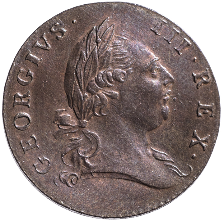 1773 Virginia Halfpenny. With Period. Semi-Prooflike. GEM Mint State