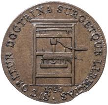 1794 Franklin Press Token. Plain Edge. Choice About Uncirculated