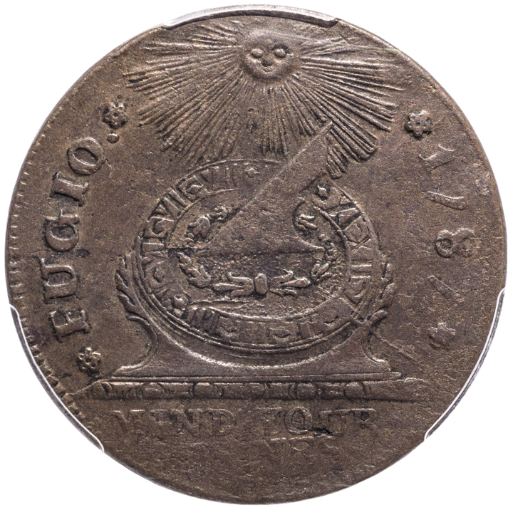 1787 Fugio Cent, 8-Pointed Stars Type. Newman 15-Y. PCGS About Uncirculated-50