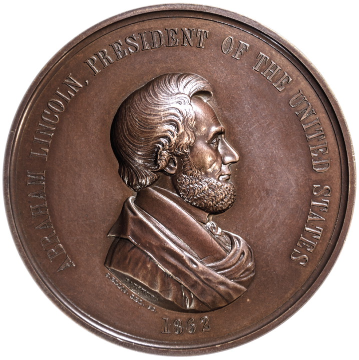 1862 ABRAHAM LINCOLN Indian Peace Medal Largest Size 76mm Julian IP-38 CH. MINT