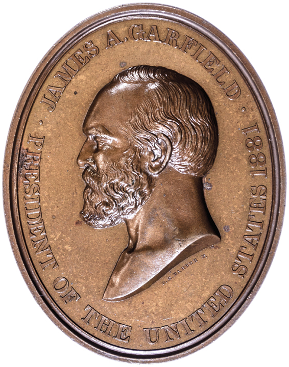 1881 Oval James A. Garfield Indian Peace U.S. Mint Medal Struck in Bronze Choice
