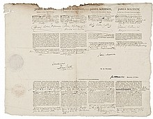JAMES MADISON + JAMES MONROE Presidential Signed Four Language Ship's Papers