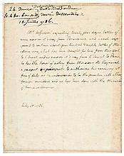 July 10, 1786 THOMAS JEFFERSON Autograph Letter Signed as Minister to France