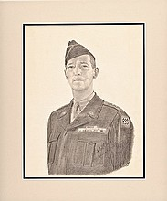 MARK W. CLARK, General, U.S. Army Pencil and Charcoal Illustration Signed
