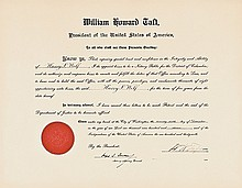 WILLIAM HOWARD TAFT, Appointment Document Signed as President 1911