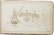 1877 Autograph Album Decorated With Ornate Original Art Works