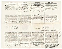 1842 JOHN TYLER Signed Four-Language Whaling Ship's Passport