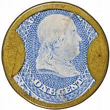 Encased Postage Stamp, One Cent. N + G TAYLOR & CO. of Philadelphia