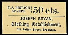 U.S. Postage Stamp Envelope. JOSEPH BRYAN, Clothing Establishment. Brooklyn, NY. 50 Cents.
