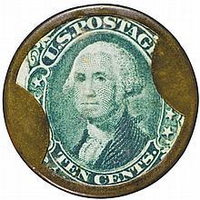 Encased Postage Stamp, EP-129, 10¢, SCHAPKER & BUSSING, Evansville, Indiana