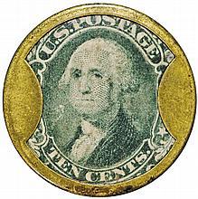Encased Postage Stamps, 10¢, JOHN W. NORRIS, Chicago. Hi Rarity-8+