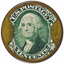 Encased Postage Stamp, Ten Cents. IRVING HOUSE, Hunt & Nash. NY. Hi Rarity-8+