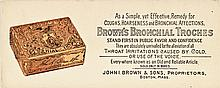 BROWNS BRONCHIAL TROCHES, Advertising Ink Blotter with an Illustration