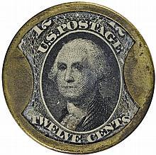 Encased Postage Stamp, 12¢,  J. GAULT. RIBBED FRAME Rarity, Second Finest known