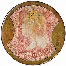 Encased Postage Stamp, Three Cents. KIRKPATRICK + GAULT. Rarity-8