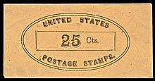 U.S. Postage Stamp Envelope, 25¢ No Imprint or Location. Full Envelope with Flap