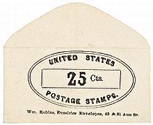 Postage Stamp Envelope. Wm. Robins. Excelsior Envelopes, 49 & 51 Ann St. 25 Cts.