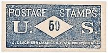 U.S. Postage Stamp Envelope, Impressive Blue Print, J. LEACH, NY, 50 (Cents)