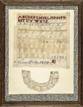 1879-Dated Hand-Wrought Needlework Sampler by Emma Orth Display Framed