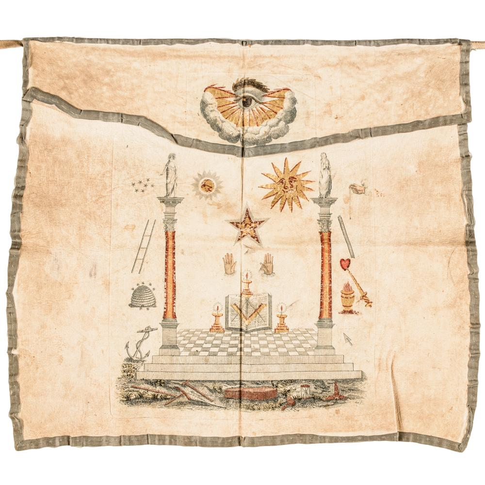 American Masonic Apron Made of Deerskin with Printed Colored Transfer